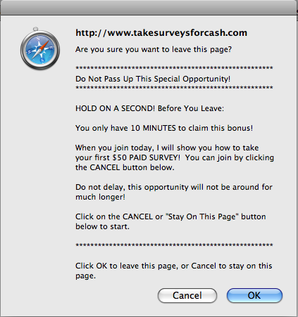 Take Surveys for Cash Exit Message