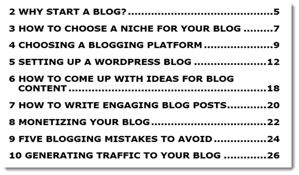Easy Blogging Success: Table of Contents