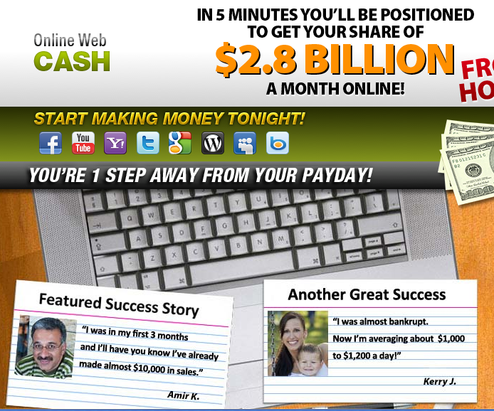 Online Web Cash Screen Grab