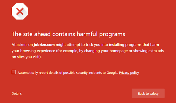 Jobrize - Google Chrome Warning